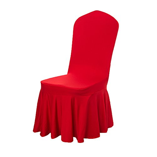 Deisy Dee Elasticity Polyester Removable Solid Color Ruffled Long Skirt Dining Chair Slipcovers 9 Color (1PCS) C046 - Ruffled Dining Slipcover Chair