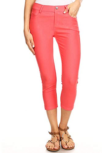 Capri Skinny Shorts - BENNY & LOUIE Women's Cotton Blend Stretchy Skinny Jeggings Pants 817 Coral XXL