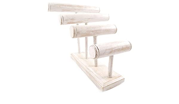Gran expositor de pulseras/relojes 4 joncs acabado de madera color blanco encalado: Amazon.es: Hogar