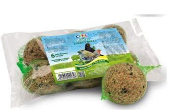 Cliffi - Boules de graisse, céréales et graines pour les oiseaux en liberté des parcs et des jardins - Lot de 6boules