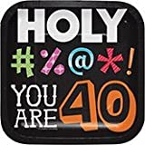 Club Pack of 96 Holy Beep! You Are 40 Square Lunch Paper Party Plates 7''