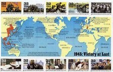 1945 WWII Victory At Last Collectible Stamp Block of Ten 32 Cent Stamps Scott 2981v by USPS