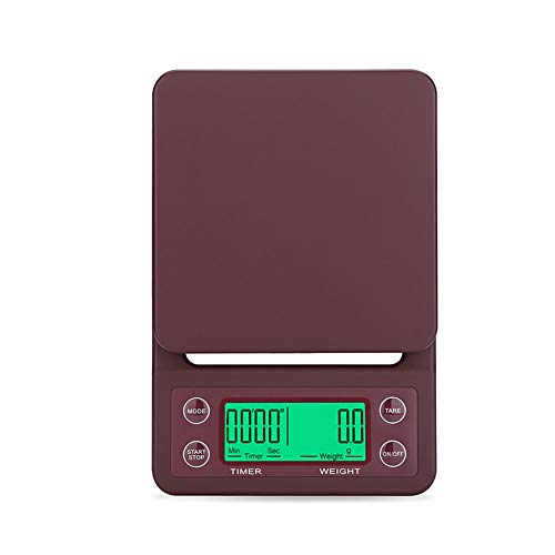 ZCY Digital Kitchen Coffee Scale With Timer, High Precision Food Scale With Tare Function, For Ingredients, Jewelry, Coffe (Capacity : 3kg/0.1g, Color : Brown) (Convert 3-3 Kg To Lbs And Oz)