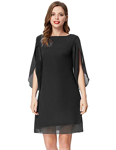 GRACE KARIN Women Casual 3/4 Sleeve Chiffon Cocktail Dress Loose Dress Plus Size Black 3XL