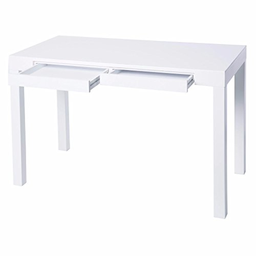 Student Wood Desk White with Two drawers, Modern Style Includes Custom Mouse ()