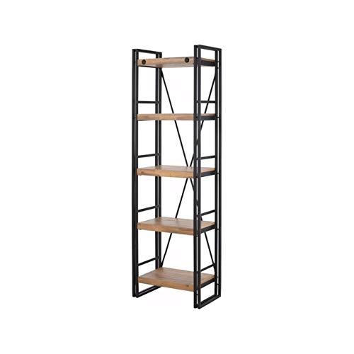 Scandinavian Living Katashi Acacia Wood and Metal Narrow 5-Shelf Bookcase (Wood Durability Acacia Furniture)