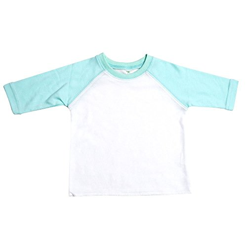 Laughing Giraffe The Raglan Baseball T-Shirt with 3/4 Length Sleeves (3T, White/Mint)