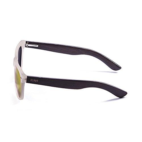 Ocean Sunglasses Beach Lunettes de Soleil Mixte Adulte, White Transparent Frame/Wood Dark Arms/Revo Red Lens