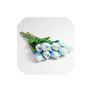 Artificial Tulips 31Pcs/Lot Tulips Pu Artificial Bouquet Real Touch Flowers Artificial for Home Decoration,Light Blue 39