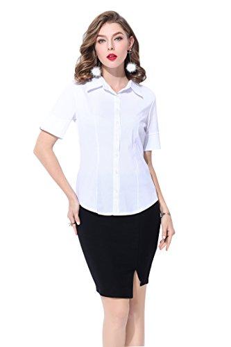 Blanc piqu Couleur Blanc Elegance Uni Sport SUNNOW manches Bouton Polo T shirt Cintre courtes Femme Top shirt Polo Col wxUqYZU8f
