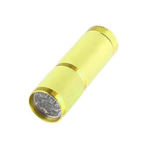 Dreamyth Mini Super Bright Torch Water Resistant Rubber Coated Body 9 LED Flashlight External Belt Fluorescence - Yellow Flash Version