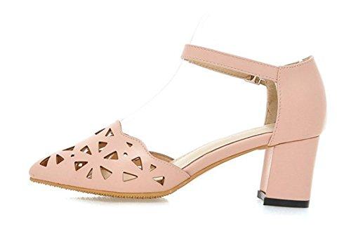 Pink Aisun correa Sandals transpirable Chunky Mid Heels del Comfy hueca tobillo nCRwpqO