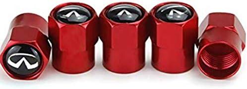 SShine 5pcs Infiniti Logo Car Accessories Red Big Head Valve Cap for Infiniti