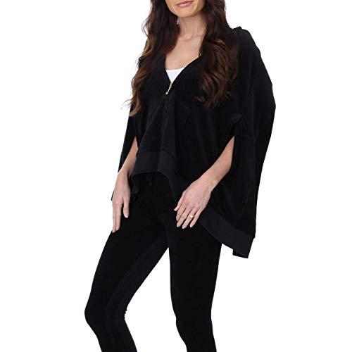 (Juicy Couture Black Label Womens Velour Cape Track Jacket, Pitch Black (Medium))