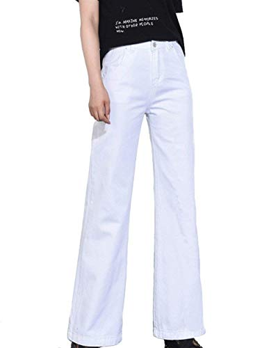 Larghe Vita Anni Elodiey Dritto Blanc 20 Alta In Taglio Tasche A Larghi  Pantaloni Gamba Da Bottone Jeans ... b2be9d68e5b8