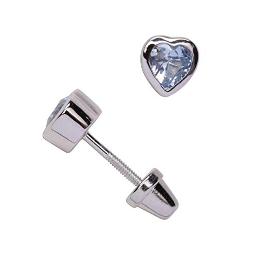 Girl's Sterling Silver December CZ Simulated Birthstone Heart Earrings with Screw Back (6mm) (Baby December Birthstone Earrings)