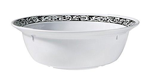 Soho Bowl, 6 Quart Melamine Bowl, White and Black, by GET BB-155-6-SO (Qty 1)