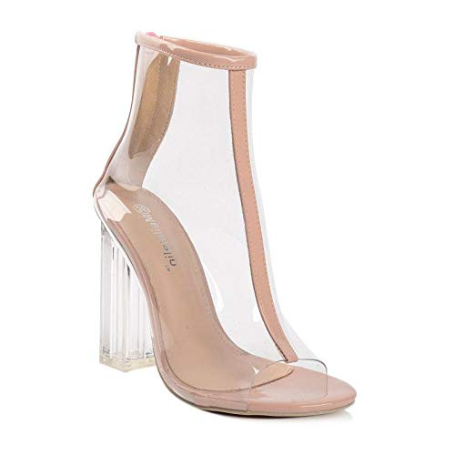 sandals Thirty High Crystal transparent short heels five boots qP1P4t