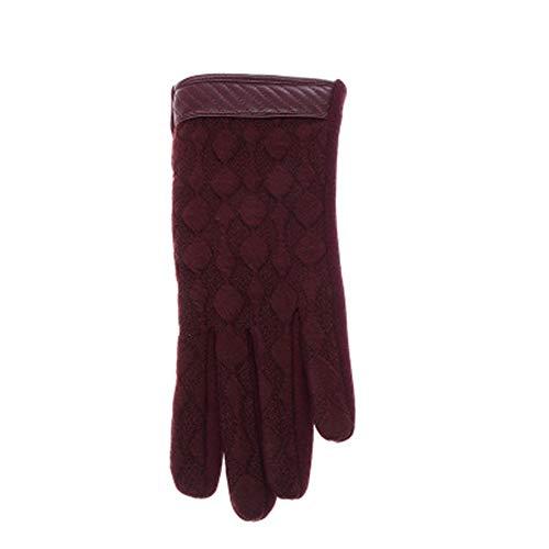 MINIKATA Womens Gloves Windproof Waterproof Warm GlovesTouchscreen Texting Rabbit Fur Wrist Winter PU Leather Gloves Driving Lining Gloves(Dark red/F)