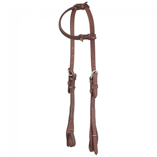 Tough-1 Headstall Single Ply Harness Leather Quick 5 8  Brown 42-1880