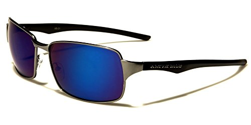 Slick Modern Stylish Elegant Gunmetal Blue Mirrored Lens Rectangle - Slick Modern Glasses