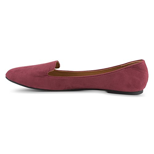 Slipper Twisted Suede Burgundy Womens Smoking Flats Faux wqIEFqpH
