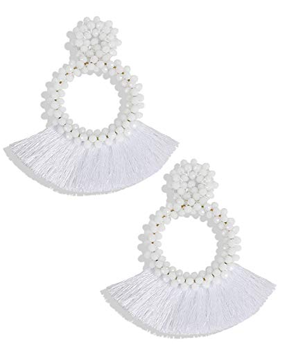 White Mens Earring - BEST LADY Tassel Earrings for Women - Statement Handmade Dangle Fringe Earrings for Women, Idea Gift for Sister, Wife and Friends (White)