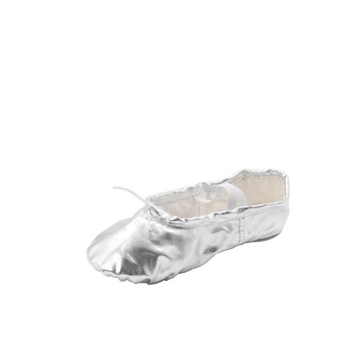 Msmushroom Woman's Pu Ballet Dance Shoes with Split Soft Sole,Silver,8 M US