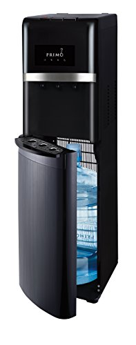 Primo Bottom Loading Water Cooler - 3 Temperature Settings, Hot, Cold, Cool - Energy Star Rated Water Dispenser w/ Child-Resistant Safety Feature Supports 3 or 5 Gallon Water Jugs [Black with Black Stainless] (Gallon Water Hot Cold 5 Dispenser)