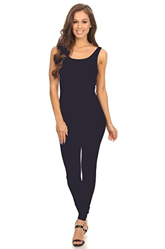 - Women's Scoop Neck Sleeveless Stretch Cotton Jersey Unitard Bodysuits Navy Small
