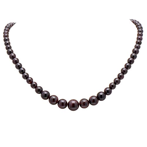Garnet Bead Necklace - Paialco Women's Graduated Necklace Deep Wine Red Garnet Beads Round Polished Strand 6-14MM, 16 Inches