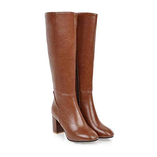 - T-JULY Women's Fashion Knee High Slim Boots Solid Color Riding Shoes Women Elegant Side Zip Comfortable Boots Brown