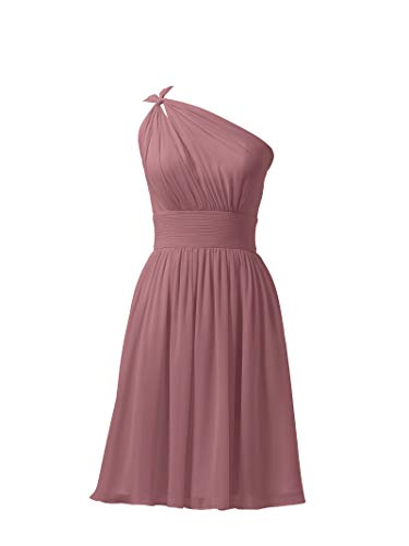 Alicepub Chiffon Bridesmaid Dresses Short Prom Party Dress Evening Gown, Dusty Rose, US8