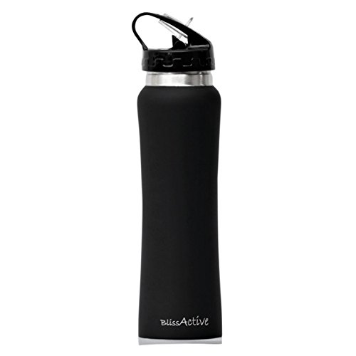 Insulated Water Bottle BlissActive Wide Mouth Double Wall For Work, Men, Women with flip straw Sweat-proof Straw Cap 17 oz and keeps ice cubes for over 20 hrs