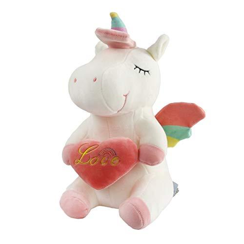 (Athoinsu Rainbow Stuffed Unicorn Hug Pink Love Heart Plush Soft Valentine's Gift for Girls Women, 12'',White)