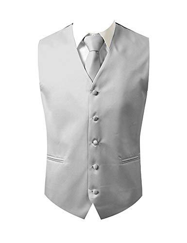 Brand Q 3pc Men's Tuxedo Vest,Neck Tie,Pocket Square Set for Suit or Tuxedo (L, Silver)]()
