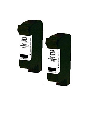 2 Pack of Remanufactured Fast-Dry BLACK Inkjet Cartridges for HP C6195A, C6173A, 378, 380, 500, CKX, P3, P4, P6, PM3, Color Style Writer, TM300P, 11K, 13K, 12KC, Bryce Jet Mach 1, Apollo