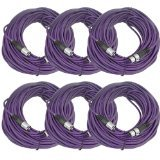 SEISMIC AUDIO - SAXLX-100 - 6 Pack of 100' Purple XLR Male to XLR Female Microphone Cables - Balanced - 100 Foot Patch Cords
