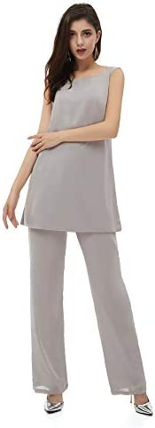 HYC Femmes 3 Pièces Volants Mousseline De Soie Robe De Mariée Pantalon De Costume Manches Longues Avec Veste Marié -  Bleu -  46