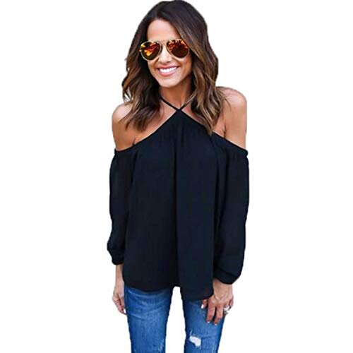 Hotouch Women's Off Shoulder Halter Spaghetti Strap 3/4 Sleeve Tops Tunic (Black M)