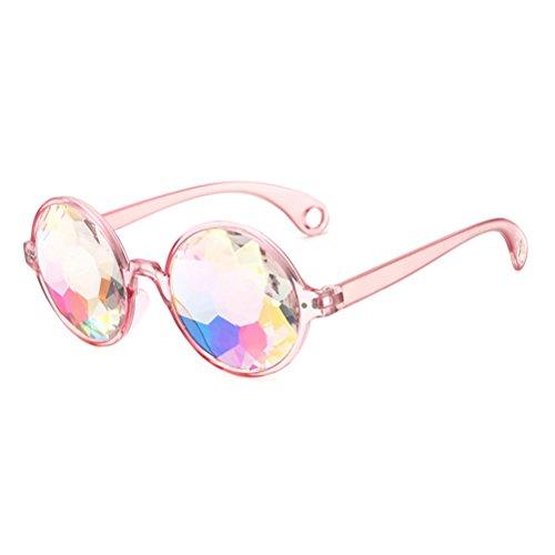 de para Prisma BESTOYARD Arco Fractal Rave con Fiesta rosa Marco Caleidoscopio Gafas agujeros de Gafas de de Iris gxSqR5qvn