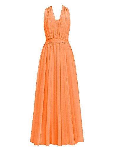 Halter Convertible Orange Chiffon Dress Prom Lace Bridesmaid Dresses Cdress Gowns Evening Long qp0YYP