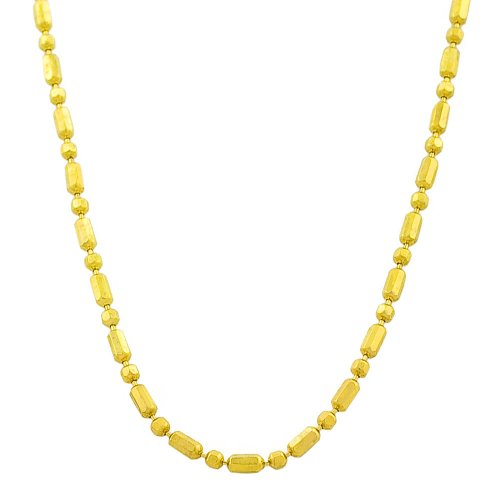 (Kooljewelry Solid 14k Yellow Gold Diamond-Cut Alternate Bead Ball Chain Necklace (1.2 mm, 30 inch))