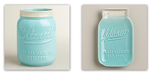 Mason Jar Ceramic Set Utensil Crock and Spoon Rest Blue by World Market