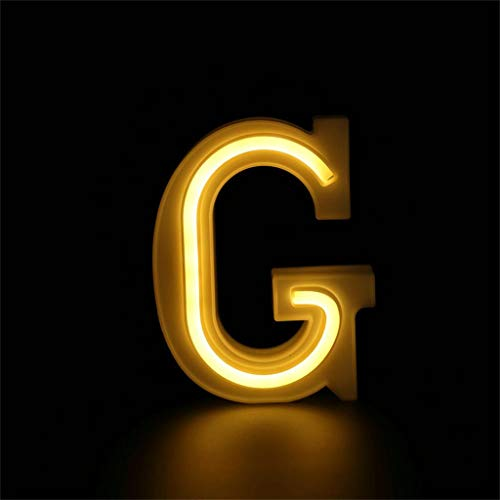 Maikouhai Alphabet Letter Lights LED Night Light Up White Plastic Letters Standing Hanging A-Z & with 40 LED, Indoor, Home, Shopwindow, Club, Party, Holiday Wedding Decor, Show Love Tool (G)