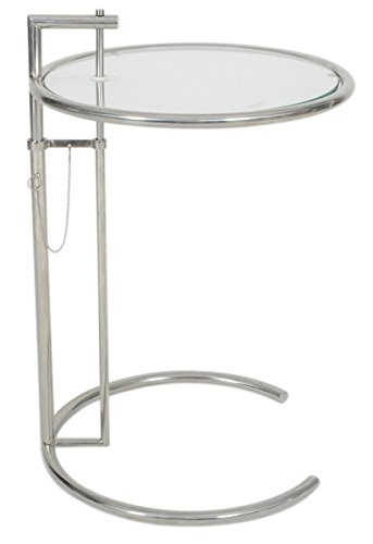 Eileen Gray Designs - MLF Eileen Gray End Table. Adjustable Height Table, Safe Tempered Circle Leveled Glass Top, Stainless Steel Tubular Frame for Firm & Durability, Metal Side Table. Easy to Move, Perfect Combination of Functionality and Style. A Modern & Contemporary/Reto & Mid Century Coffee Table, Creative & Classic C(U) Shaped Small Accent & Art Deco Table, Suitable as Personal Sofa & Bed Table/Breakfast Table.