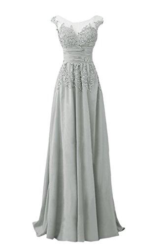 Rundkragen Abendkleid Chiffon Festkleid amp;Tuell A Elegant Spitze lang Ivydressing Damen Applikation Silber Linie Promkleid wFAqIq