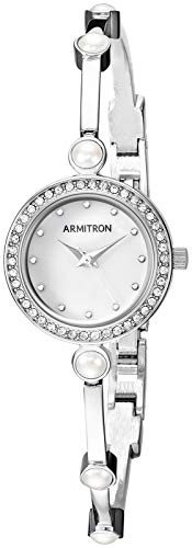 (Armitron Women's 75/5591MPSV Swarovski Crystal Accented Silver-Tone Bangle Watch)