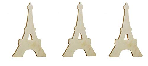 Unfinished Large Eiffel Tower Shaped Wood Cutout (Pack of 3) Tower Shape Wooden Tags, Wood Sign, DIY Hanging Ornaments, Centerpieces, Wall Decor, Door Hanger Decoration, School Projects, Arts & Crafts