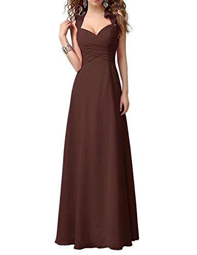 Abendkleider Chiffon Halter BrautjunferKleider Lang Partykleider Cocktailkleider 125 Schokolade rDvNSPoAxp